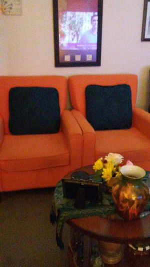 Orange Chairs. With cushins for Sale in Fort Worth, TX