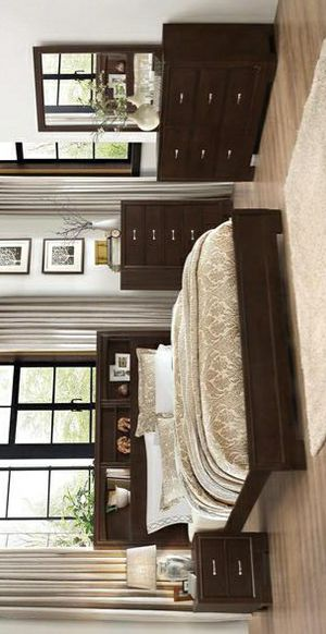 Tahoe Brown Bookcase Brand New 4 PC Queen & king size bedroom set (Bed Frame, dresser, mirror, nightstand) for Sale in Stafford, TX