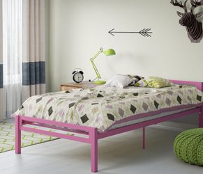 Mainstays Premium Metal Twin Bed, Pink for Sale in Las Vegas,  NV