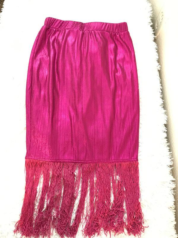 Metallic Pink Fringe Skirt