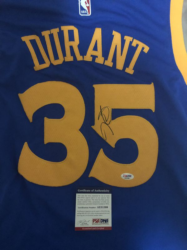 newest fc3aa fd160 Kevin Durant signed autographed jersey Warriors PSA/DNA COA Curry Durant  Thompson Dubs Basketball for Sale in Pleasanton, CA - OfferUp