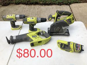 Ryobi Lithium 18v Ion Cordless Circular Saw + Reciprocation + 2 Drills + Flash Light No batteries for Sale in San Antonio, TX