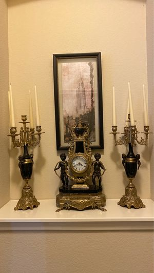 Antique clock and candelabras for Sale in VLG O THE HLS, TX