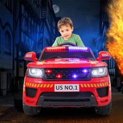 🎉!!BRAND NEW 12V REMOTE CONTROL Electric Ride On Car Power Wheels FIREFIGHTERS TRUCK 🚒 with Real life Sirens USB and Bluetooth for Sale in Whittier,  CA