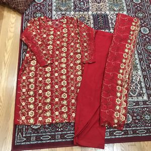 Red L women's dress Pakistani Indian shalwar kameez wedding party outfit for Sale in Silver Spring, MD