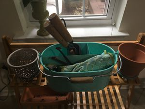 Gardening set: tools and gloves and 2 flower pots for Sale in Herndon, VA