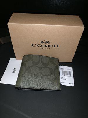 Coach men's green leather wallet for Sale in Orange, CA