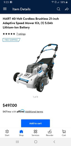 """Hart 40v Battery 21"""" Lawn Mower for Sale in Richfield, OH"""