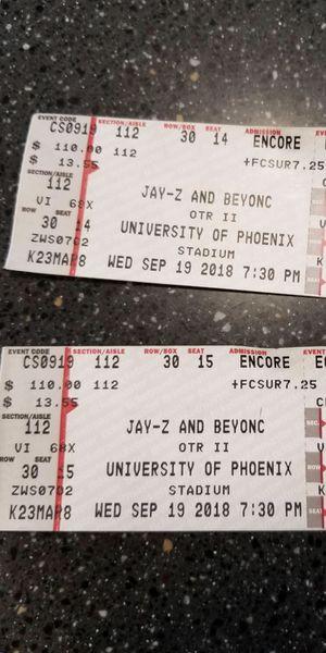 Jay sand Beyoncé tickets for Sale in Phoenix, AZ