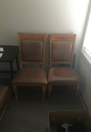 (4) Nice wooden, leather-cushioned dining chairs for Sale in Nashville, TN