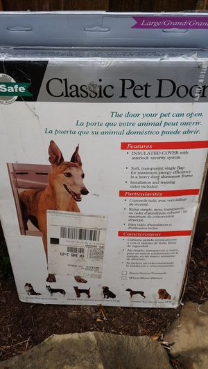 PetSafe classic pet door large 10 x 15 flap opening that's up to a hundred pounds new in box for Sale in Beaverton, OR