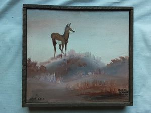 A vintage Mid-century Modern Impressionist Doe Deer Oil Painting by Montana Artist Carol Schulz Botts for Sale in Tacoma, WA