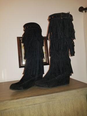 Black Fringe Platform Boots Size 6 for Sale in Wauconda, IL