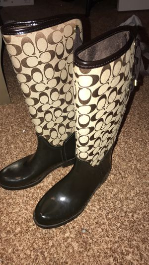 Coach rain boots size 8 womens for Sale in Houston, TX