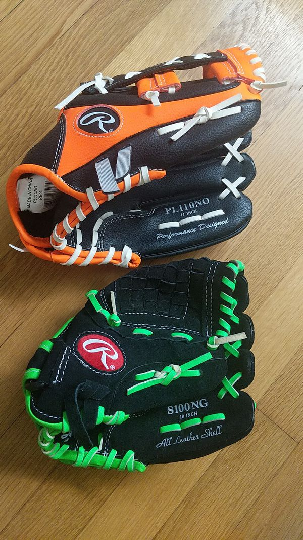 """Two RAWLINGS Youth Ages 7-9 Baseball Gloves 10"""" and 11"""""""