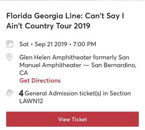 Florida Georgia Line Concert Tickets for Sale in Rancho Cucamonga, CA