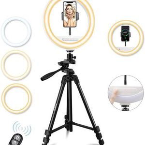 "10"" LED Selfie Ring Light with Tripod Stand & Cell Phone Holder for Live Stream/Makeup/YouTube Video, Haojiari Upgraded Ringlight with Touchpad Compat for Sale in Pomona, CA"