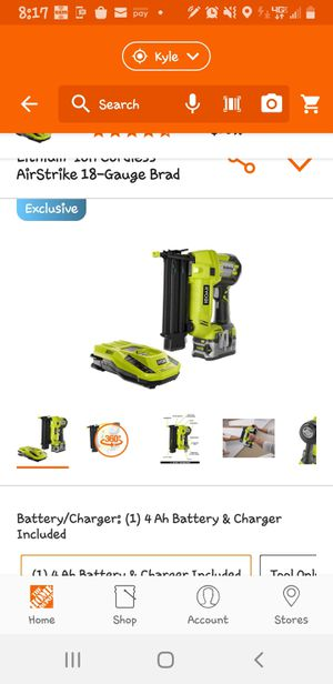 Ryobi Brad nail gun battery and charger or best offer I accept PayPal for Sale in Niederwald, TX