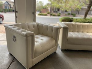 White leather couch and seat with leather ottoman for Sale in Las Vegas, NV