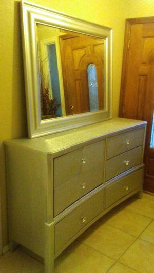 Large. Silver glitter dresser for Sale in Phoenix, AZ