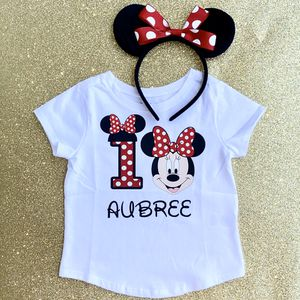 Personalized Red Polkadot Minnie Mouse First (1st) Birthday Shirt & Headband Ears for Sale in Long Beach, CA