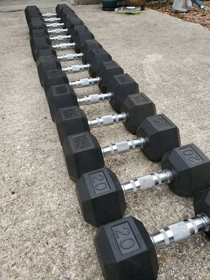 Rubber Hex Dumbbell Set, 5-50lbs for Sale in Madisonville, LA
