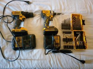 20v impact, drill 2 batteries, 2 chargers, new drill bits and screw tips for Sale in Odessa, TX