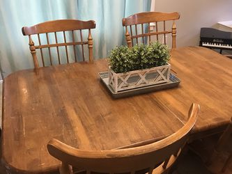 Solid Wood Dining Table Plus Six Chairs for Sale in Mill Creek,  WA