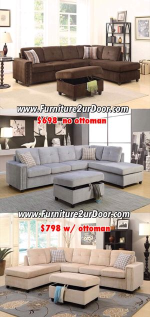 New chocolate, grey or beige velvet fabric sofa sectional with storage ottoman and nailhead trim for Sale in Pomona, CA