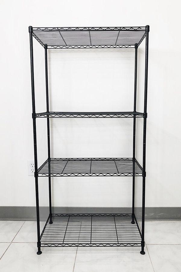 "Brand New $35 Small Metal 4-Shelf Shelving Storage Unit Wire Organizer Rack Adjustable Height 24x14x48"""