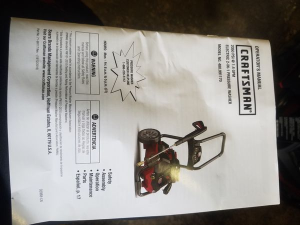 Craftsman 42497 2050 PSI 1 4 GPM 2-in-1 Electric Pressure Washer for Sale  in Columbus, OH - OfferUp