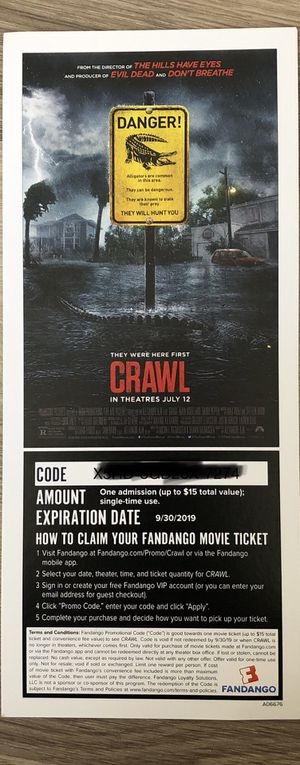 I have 8 tickets for the movie CRAWL for Sale in San Diego, CA
