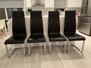 Black leather chairs (4) for Sale in Doral, FL