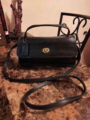 Adorable Vintage COACH Black Cowhide Leather Turnlock Flap Small Geometric Convertible Messenger Crossbody Shoulder Bag Purse for Sale in Phoenix, AZ