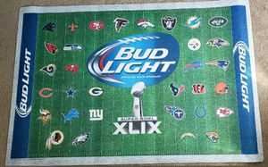 BUD LIGHT SUPER BOWL XLIX NEW ENGLAND PATRIOTS vs SEATTLE SEAHAWKS RUG/MAT (NEW) for Sale in Downey, CA