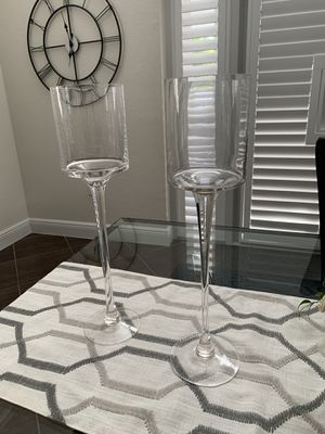 Clear long stemmed candle holder HIGH for wedding or party for Sale in Pembroke Pines, FL