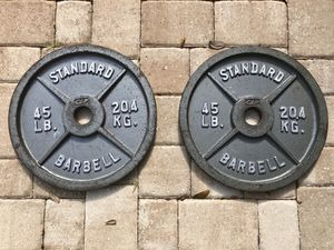 Standard Olympic Barbell Plates 45lbs for Sale in Deltona, FL