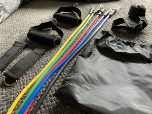 Perfectly Essential Resistance Tube Band Set (12 Pieces, Complete Travel Workout Kit) for Sale in League City, TX