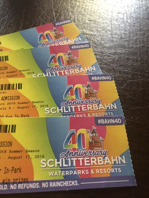 For sale 4 tickets for schlitterbahn 150 for all for Sale in Midland, TX