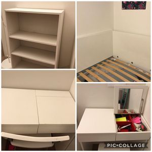 IKEA full size bed+IKEA Dresser with chair + Storage unit for Sale in Leesburg, VA