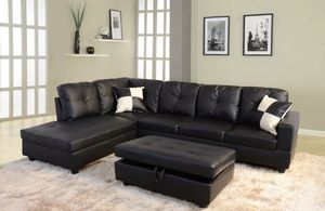 New~ Sectional Couch with free Ottoman. Black for Sale in San Leandro, CA