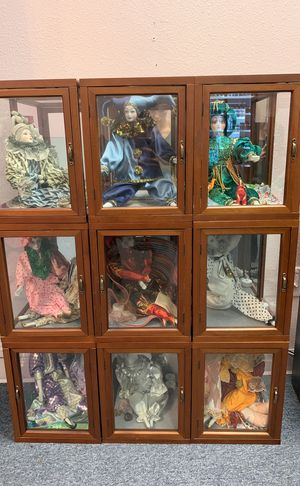 Porcelain collector clown dolls in Individual mirrored glass boxes for Sale in Tacoma, WA