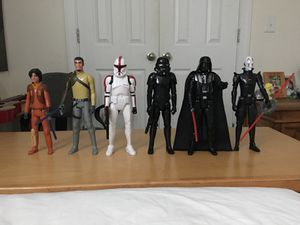 Six 11 Star Wars Action Figures And Star Wars Book for Sale in Raleigh, NC