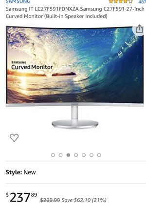 """Samsung white curved monitor 27"""" for Sale in Frisco, TX"""