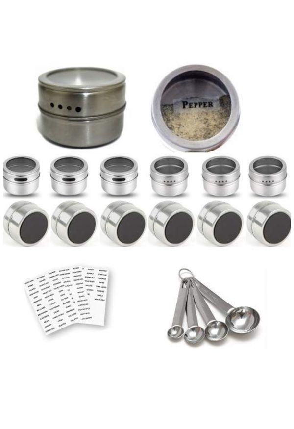 12 Magnetic Spice Containers Tins Stainless Steel for Fridge Jars Set Kitchen Organizer Clear Top Lids Sift or Pour Spice Storage & Arts & Craft Stor