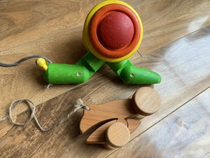 Plan toys pull along snail and wooden frog toddler kid toys for Sale in Mahwah, NJ