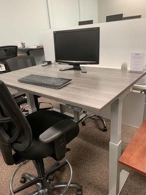 Grey sit-stand office desk for Sale in Tigard, OR