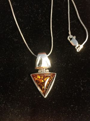 Classy Silver necklace with triangular cut Amber gemstone pendant. / Sterling Silver jewelry 925 stamped for Sale in Alexandria, VA
