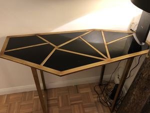 Console Table - Gold metal and black glass for Sale in New York, NY