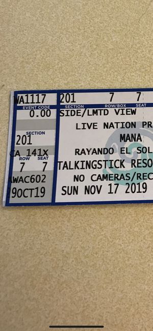 MANA TICKETS FOR TONIGHT!! for Sale in Glendale, AZ
